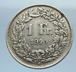 1945-SWITZERLAND-SILVER-1-Franc-Coin-HELVETIA-Symbolizes-SWISS-Nation-i71622