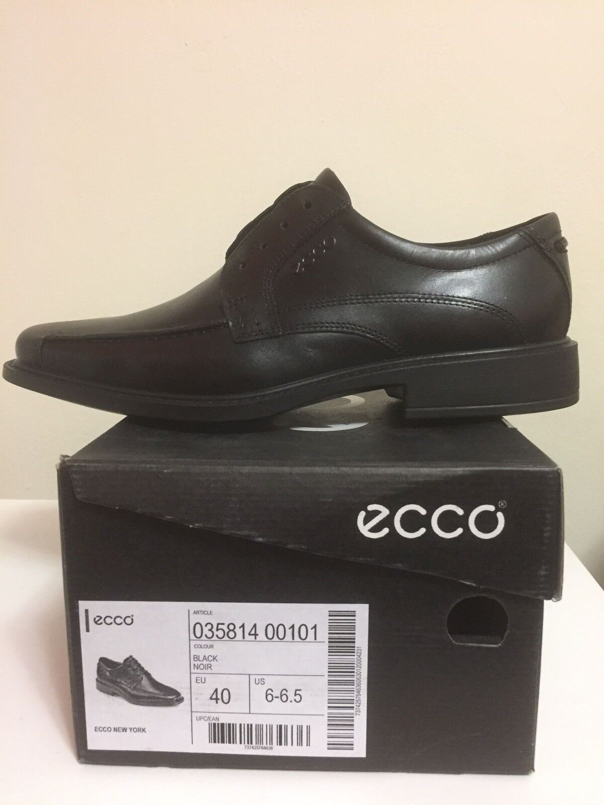 Ecco Up New York Leather Lace Up Ecco Bicycle Toe Tie Casual Comfort schuhe Mens Sz 6-6.5 95d2b3