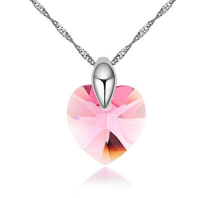 18K GOLD GP Made With SWAROVSKI CRYSTAL Clear Light  Light Pink Heart NECKLACE