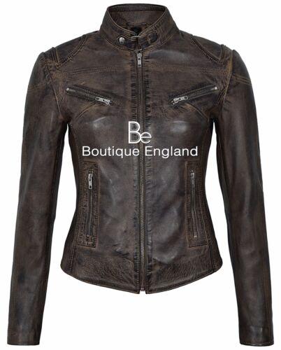 vintage Veste en vintage 01 de dames Sr motard vitesse cuir de pour vachette de style brun q8rHqw