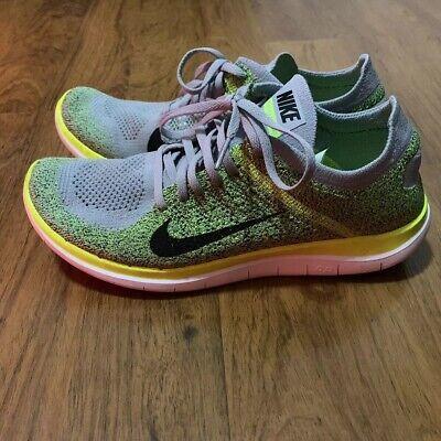 Nike Free Flyknit 4.0 Grey Yellow white 631053 012 BAREFOOT RUN Size 11 US