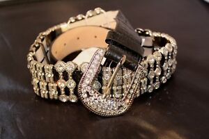 NEW-Black-Leather-Wildfire-Belt-Bling-Crystal-Cowgirl-Western-S-XS-Rtl-140