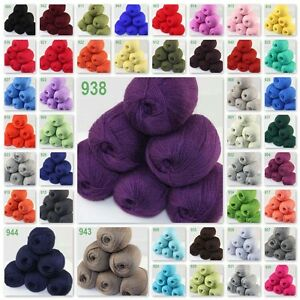 Sale-Lot-6skeinsx50g-LACE-Soft-Crochet-Acrylic-Wool-Cashmere-Hand-Knitting-Solid