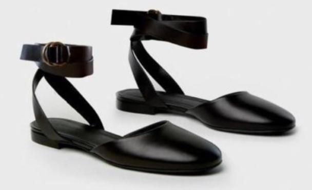 JENNI KAYNE 36 6 BLACK LEATHER BALLET FLATS ANKLE STRAP DESIGNER ROUND TOE ITALY