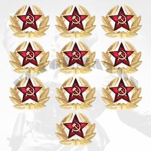 KOKARDA-RUSSIA-RED-ARMY-SOVIET-ARMY-Star-Hat-Pin-Badge-10pc