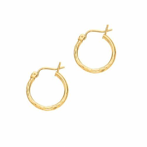 """5//8/"""" Diamond Cut Hoop Earrings Real 14K Yellow Gold 0.9gr"""