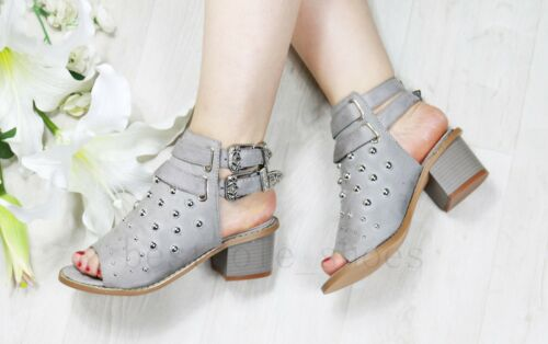 New Womens Mid Block Heel Sandals Studs Peep Toe Buckle Ankle Strap Shoes Sizes