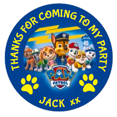 48 Personalised Paw Patrol Party Bag Stickers Sweet Bag Seals 40mm Cone Labels