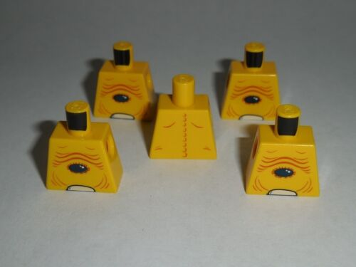 NO ARMS OR HANDS TORSO Lego X5 Yellow Alien with Skin Folds Pattern NEW