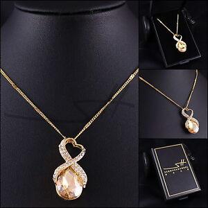 Geschenk-Kette-Halskette-Infinity-Gelbgold-pl-Swarovski-Elements-inkl-Etui