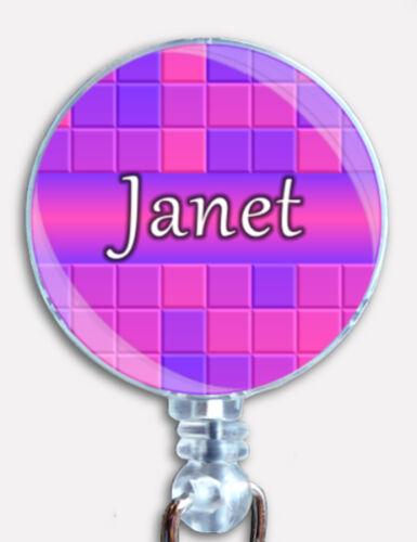 Personalized Custom Gradient Tile Taquin Badge Reel Retractable ID Name Holder