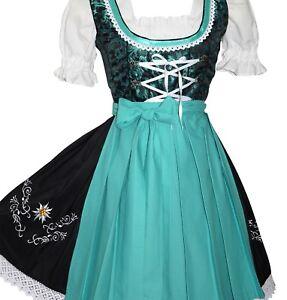 DIRNDL Oktoberfest German Dress EMBROIDERED Waitress 3-Pc SHORT Swing LACE BLACK