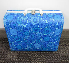 Vintage 1960's RETRO MOD HIPPIE BLUE FLORAL CHILDS VINYL Covered HARD SUITCASE