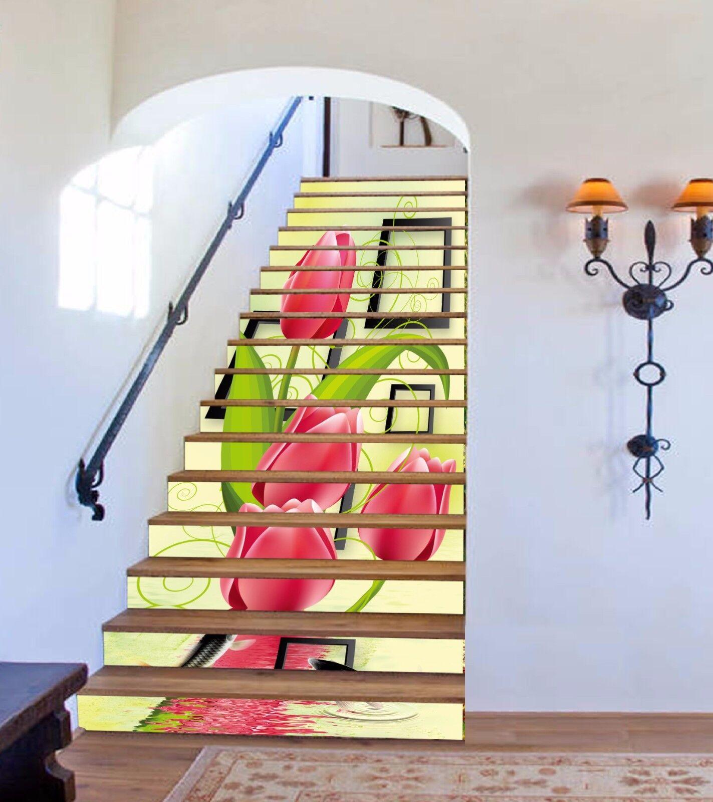 3D Flowers Frames 3 Stair Risers Decoration Photo Mural Vinyl Decal Wallpaper UK