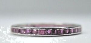 Antique-Art-Deco-Vintage-Ruby-Eternity-Wedding-Band-14K-White-Gold-Ring-Size-5