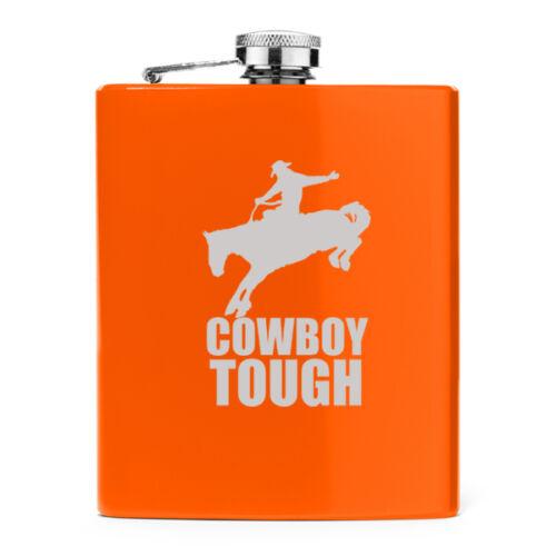 7oz Stainless Steel Liquor Hip Flask Cowboy Tough Rodeo