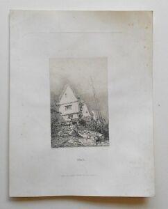 Eau-Forte-Originale-d-039-Adolphe-Hervier-XIX-Maison-de-pecheur-1843