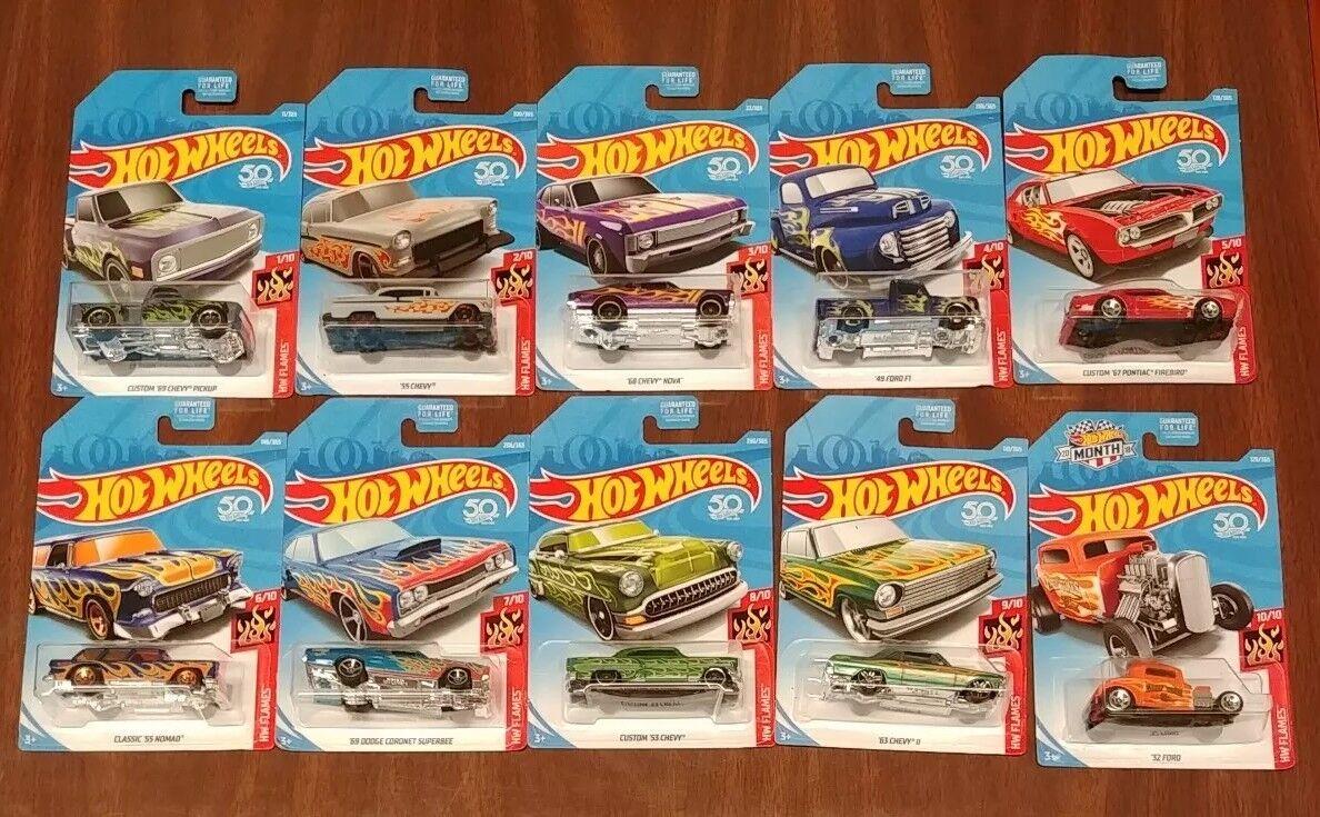 Hot Wheels 50th Anniversary HW Flames - Full Set of Ten (10) Cars