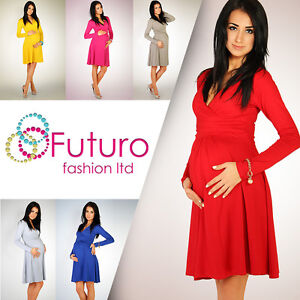 HOT-DEAL-Women-039-s-Maternity-Dress-Tunic-Long-Sleeve-V-Neck-Stretchy-FT1101
