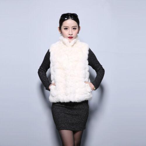 020172 100/% Real Rabbit Fur Vest Waistcoat Women Outwear Jacket Coat