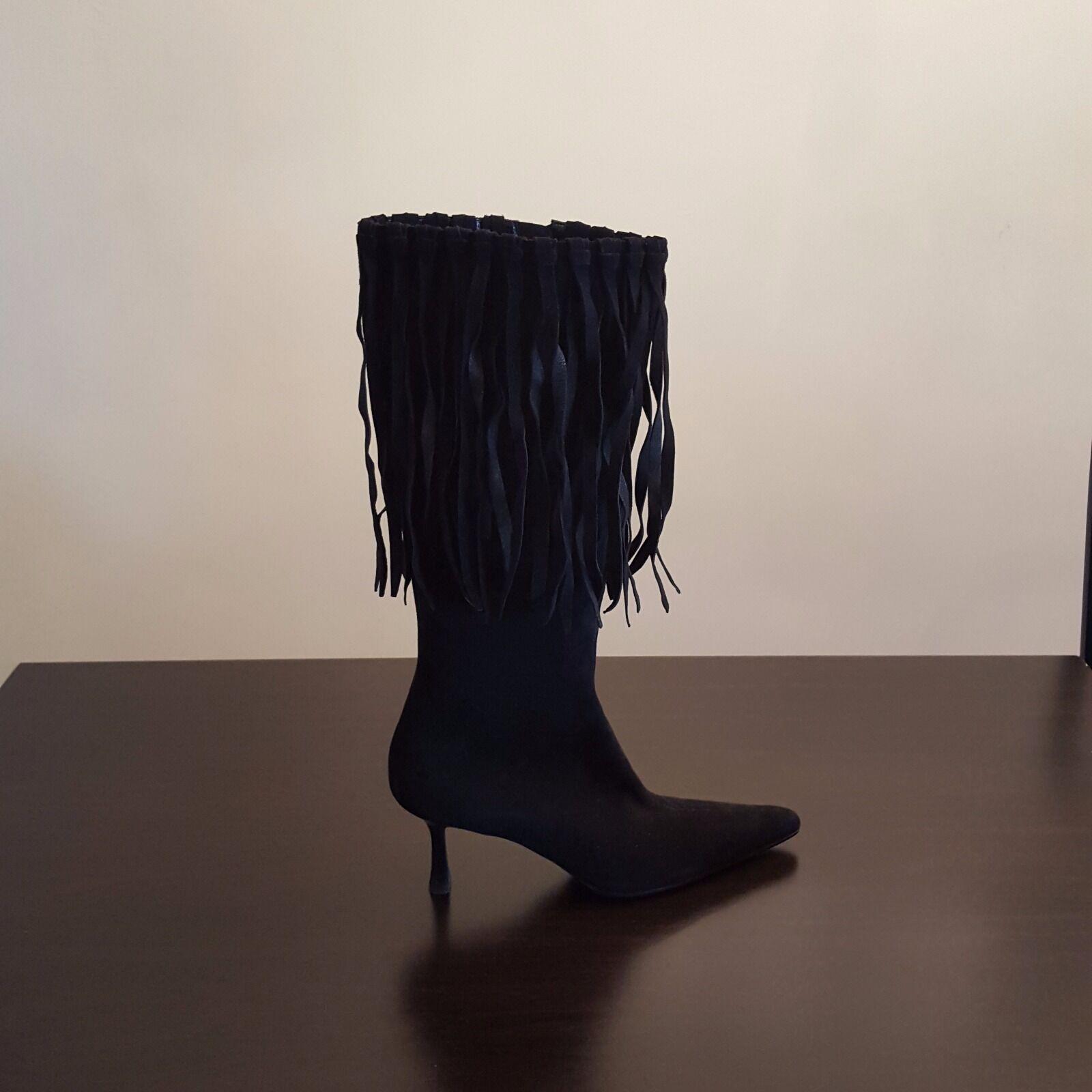 BALLINE WOMEN ITALIAN BLACK SUEDE BOOTS WITH FRINGE SIZE 6