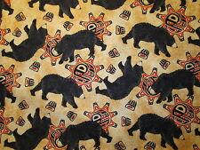 NATIVE AMERICAN BEAR TOTEM SPIRIT ANIMALS BLACK BEIGE COTTON FABRIC FQ