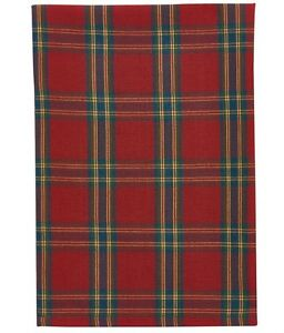 Peppermint Plaid Dish Towel Country Farmhouse Kitchen Dining Set 2 Valentines