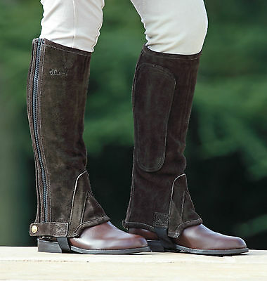 SHIRES ADULTS SUEDE HALF CHAPS 9621 riding horse black/brown standard &short leg