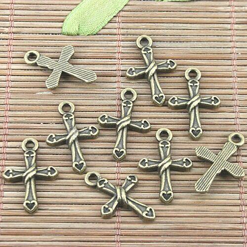 20pcs antiqued bronze color cross shaped design pendant H0565