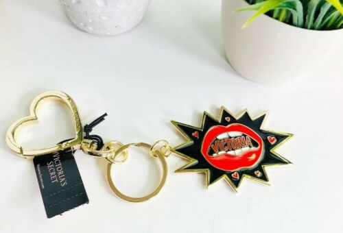 Victorias Secret Lips Mouth Burst Charm Keychain Key Heart Ring Red Gold NWT