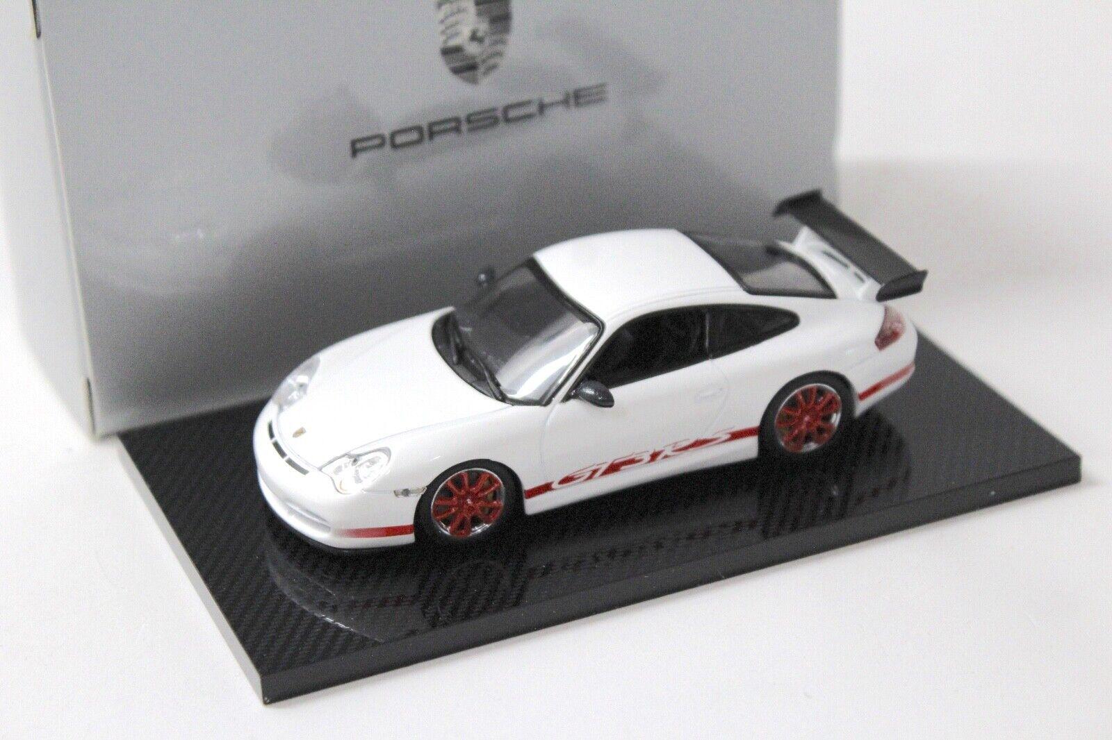 1 43 Minichamps Porsche 911 996 GT3 RS WHITE RED DEALER NEW in Premium Car