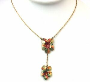 VINTAGE-PANSY-FLOWER-NECKLACE-ENAMEL-LAVALIER-ACCENTS-COSTUME-JEWELRY