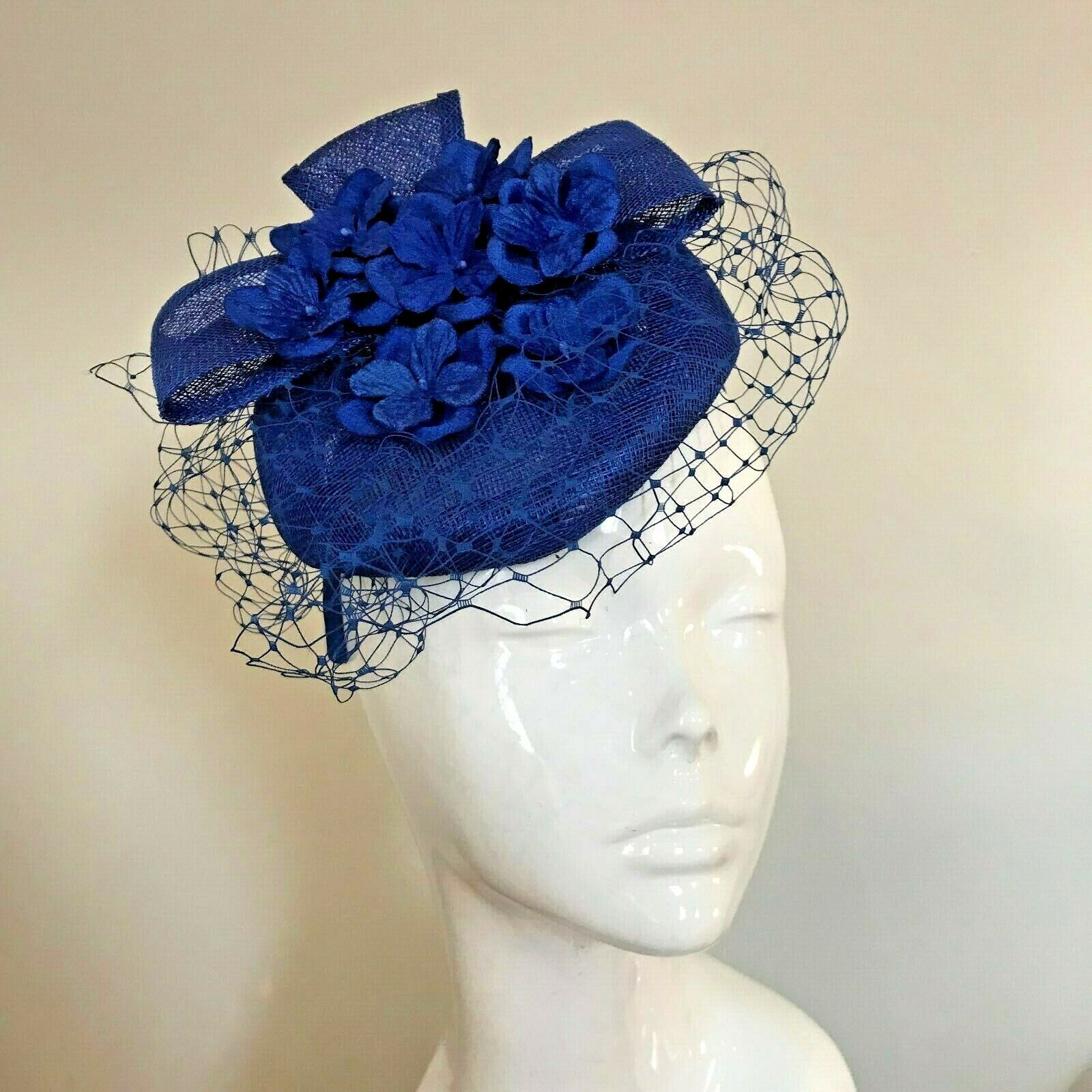 One Off Royal Blue Designer Millinery by Hat Couture Wedding Bridal Racing Hat