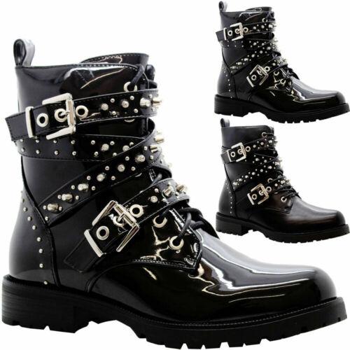 Ladies Ankle Lace Up Biker Boots Womens Block Heels Punk Hiker Combat Shoes Size