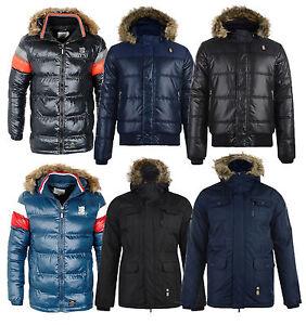 Crosshatch-Faux-Fur-Parka-Jacket-New-Men-039-s-Long-Warm-Hooded-Winter-Padded-Coat