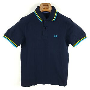 Fred-Perry-Poloshirt-Herren-XS-Blau-Gelb-Pique-Kurzarm-Shirt-M1200