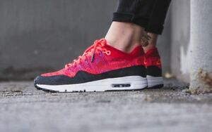 Nike Women s Air Max 1 Ultra Flyknit 859517 600 Red Black   eBay c16942121580
