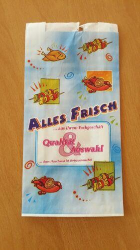 1000 Papierbeutel Metzgertüten Faltenbeutel ALLES FRISCH 12//5//23cm 35g #17040