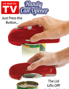 As-Seen-On-TV-Handy-Can-Opener-Red-Automatic-One-Touch-Hands-Free-Easy-To-Use