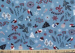 Baumwolle Jersey Stoff Quality Textiles Winterlich 147cm Blau