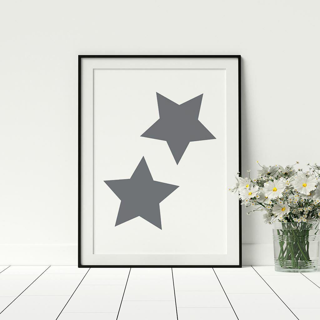 Stars impresión en Gris simplista Pared Obra De Arte Gran Tamaño