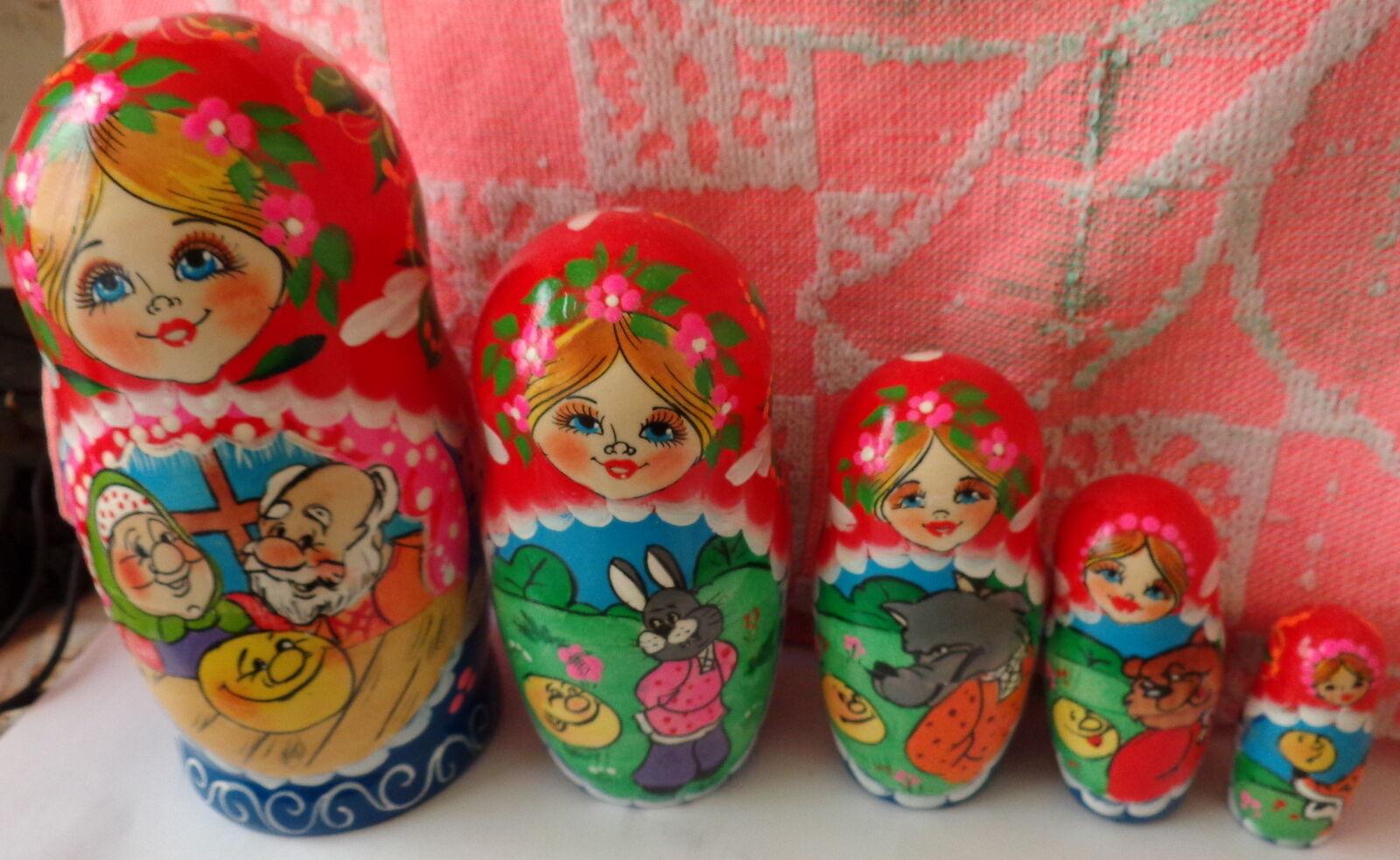 Superb quality fairy tale 'The Bun ' RUSSIAN NESTING DOLL 5 PCS  LARGE 6.8  5S