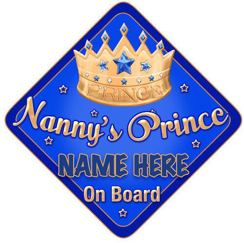 Nannys Prince Car Sign Like Baby//Child On Board Blu//Gol