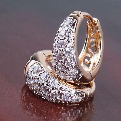 18K fantastic Gold Platinum filled white topaz lady handsome hoop earring