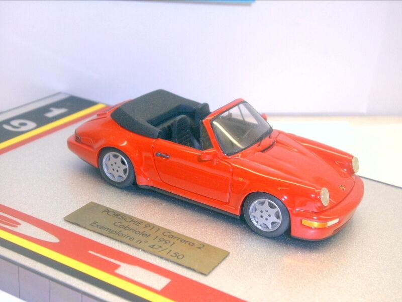 Miniatures du Chateau; PORSCHE 911 Carrera 2 Cabriolet, 1991, Rosso