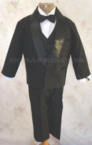 NEW BOY FORMAL TUXEDO SET BLACK Shawl Collar Sz L//2T//5//12//14,Wedding//Recital