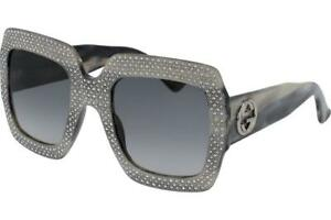 b030ded87 Image is loading Gucci-GG0048S-001-Grey-Horn-with-Swarovski-Crystal-