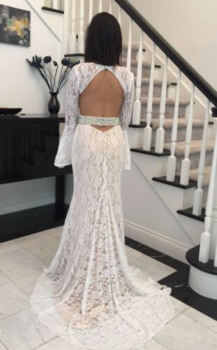 In Stock Size 6 Brand New Elegant White Long Sleeves Long  Prom Dress
