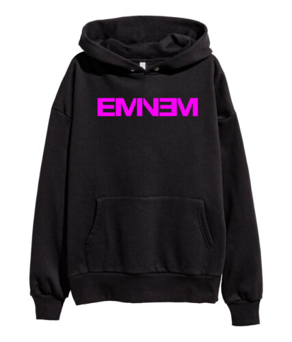 Eminem Pink Logo Hoodie Hip Hop Rap Sweatshirt Kamikaze merch Shady Stan Black