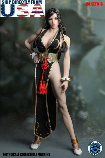 1 6 Street Fighter Chun Li Head Sculpt Clothing Set For Phicen Female Figure Usa